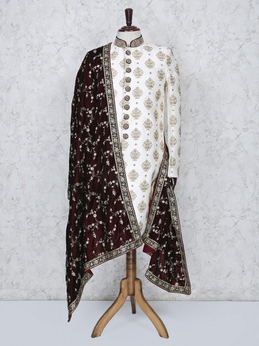 Cream Hue Wedding Wear Silk Fabric Indo Western