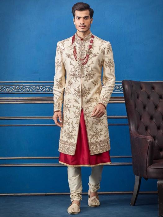 Cream Magenta Colour Combination Silk Sherwani