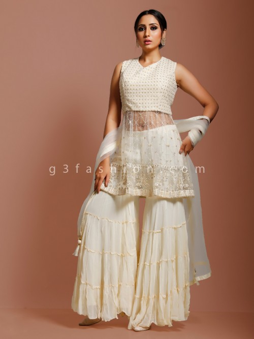 Cream Net Punjabi Sharara Suit For Party