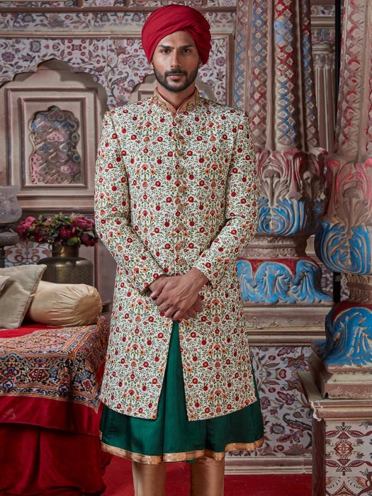 Cream Silk Double Layer Sherwani For Groom