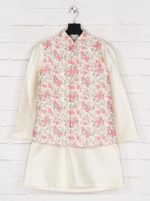 Cream Silk Printed Waistcoat Set