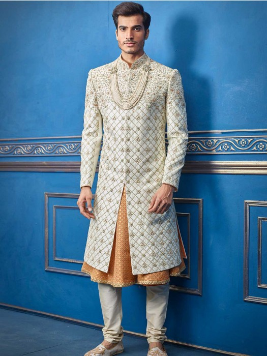 Cream Silk Sherwani For Wedding Days