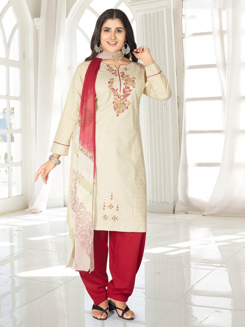 Cream Striped Punjabi Salwar Suit In Cotton