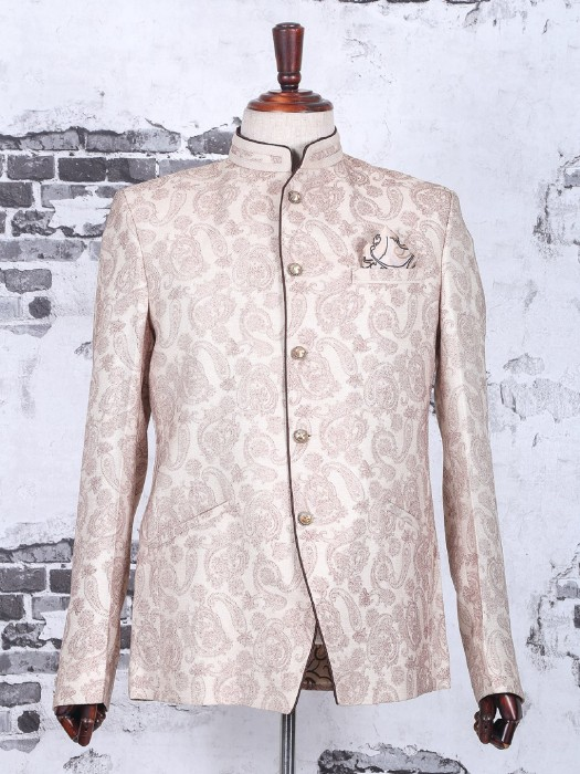 Cream Terry Rayon Wedding Jodhpuri Suit