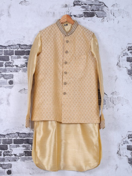 Cream Wedding Wear Silk Waistcoat Set