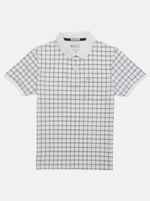 Crossknit Checks White Casual T-shirt
