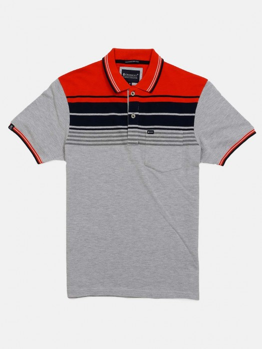 Crossknit Stripe Grey Cotton T-shirt