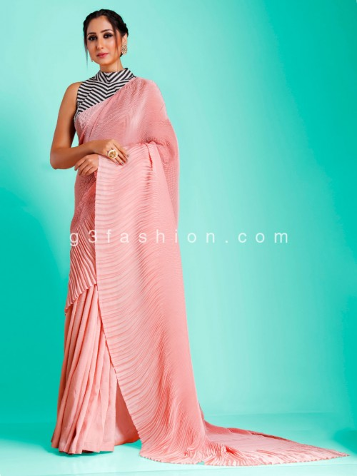 Party Wear Peach Crush Satin With Stripe Readymade Blouse