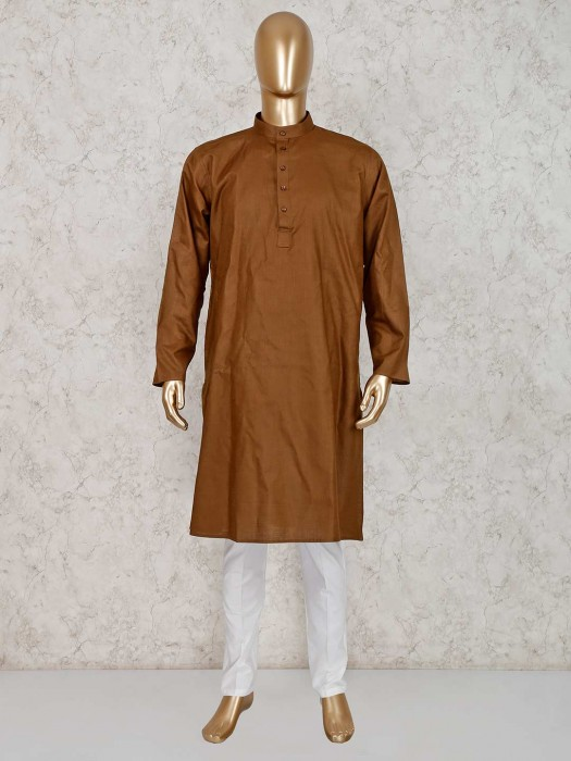 Dark Brown Solid Cotton Kurta Suit