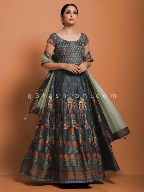 Dark Grey Cotton Silk Anarkali Salwar Dress