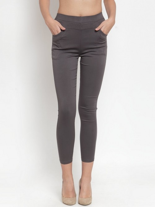 Dark Grey Cotton Solid Jeggings