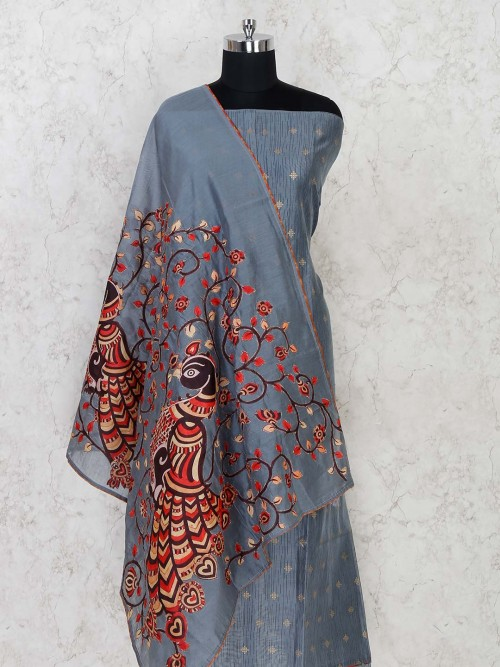 Dark Grey Dress Material With Embroidered Dupatta