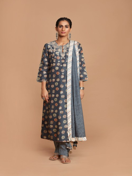 Dark Grey Printed Cotton Salwar Suit
