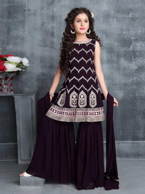 Dark Purple Round Neck Girls Sharara Suit