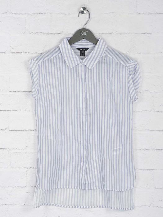 Deal Blue Hue Cotton Top In Stripe Pattern
