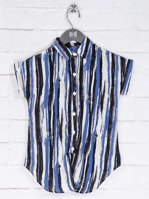 Deal Blue Printed Collar Neck Top