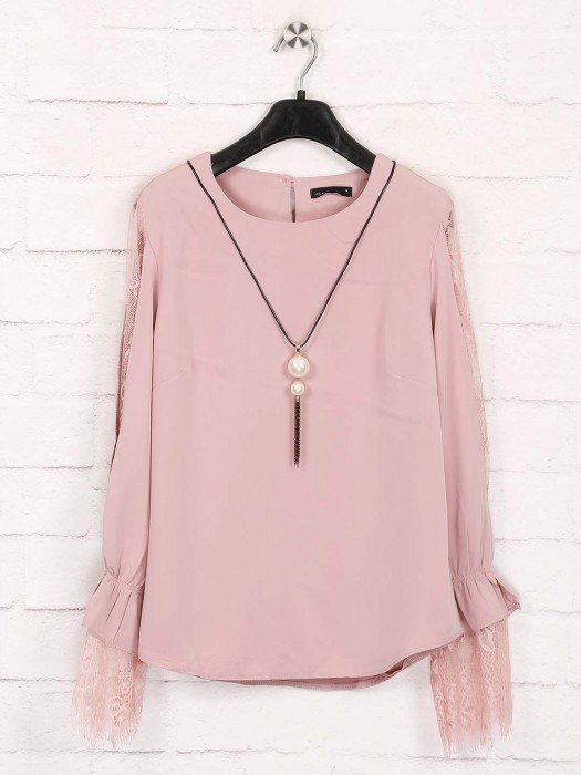 Deal Casual Wear Pink Solid Top