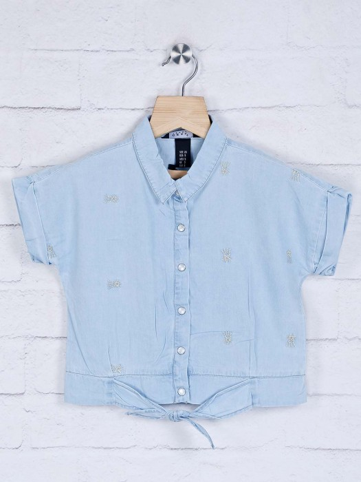Deal Collar Neck Denim Lioght Blue Top