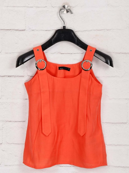 Deal Cotton Solid Orange Top