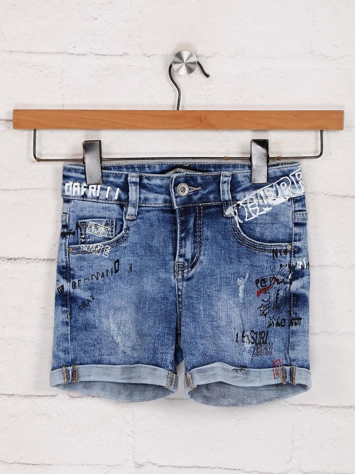 Deal Denim Blue Casual Wear Shorts