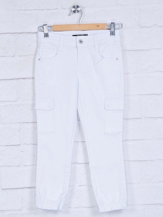 Deal Girls White Solid Cotton Jeans