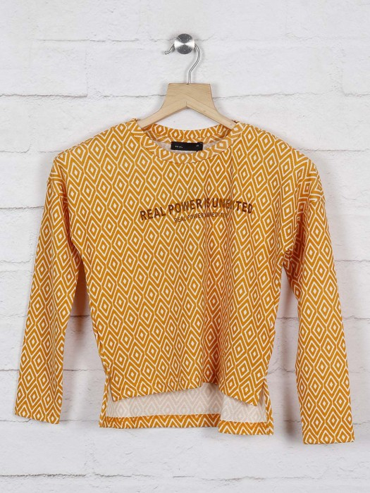 Deal Mustard Yellow Round Neck Cotton Top