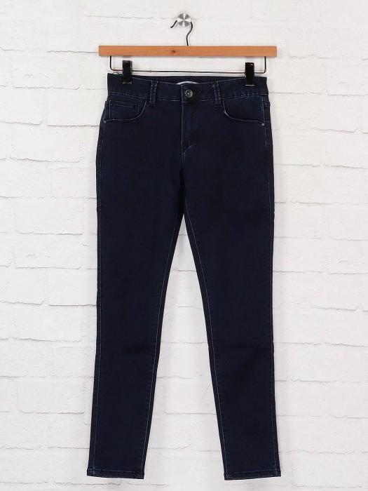 Deal Navy Blue Solid Denim Jeans