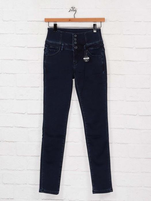 Deal Navy Blue Solid Slim Fit High Waist Denim Jeans
