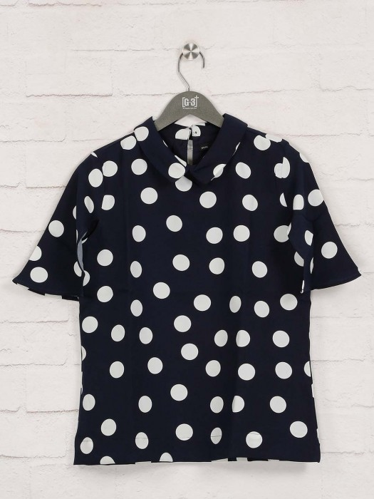 Deal Navy Printed Cotton Top