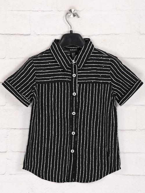 Deal Presented Black Cotton Stripe Top
