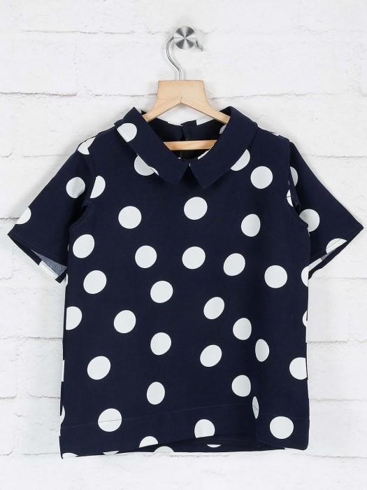 Deal Printed Navy Cotton Collar Neck Top