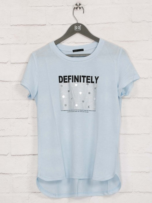 Deal Printed Sky Blue Cotton Top
