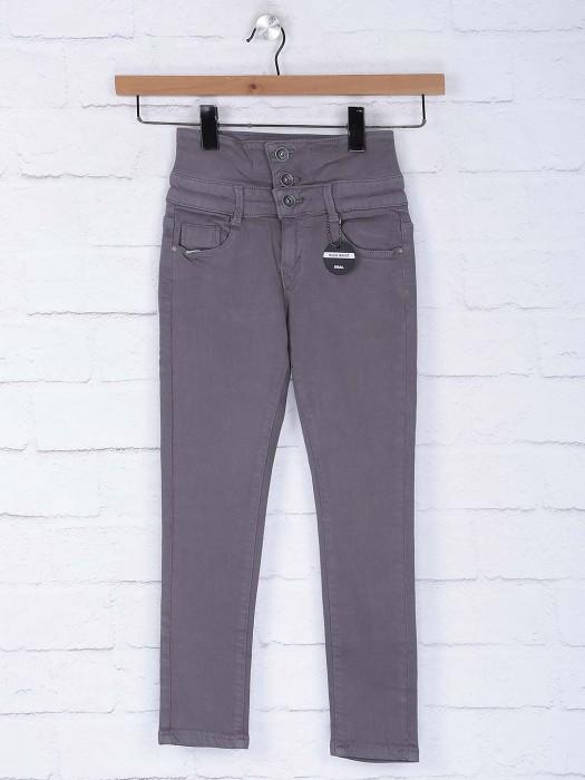 Deal Solid Grey Hue High Waist Jeans
