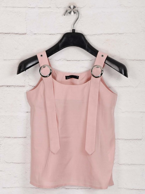 Deal Solid Pink Cotton Girls Top