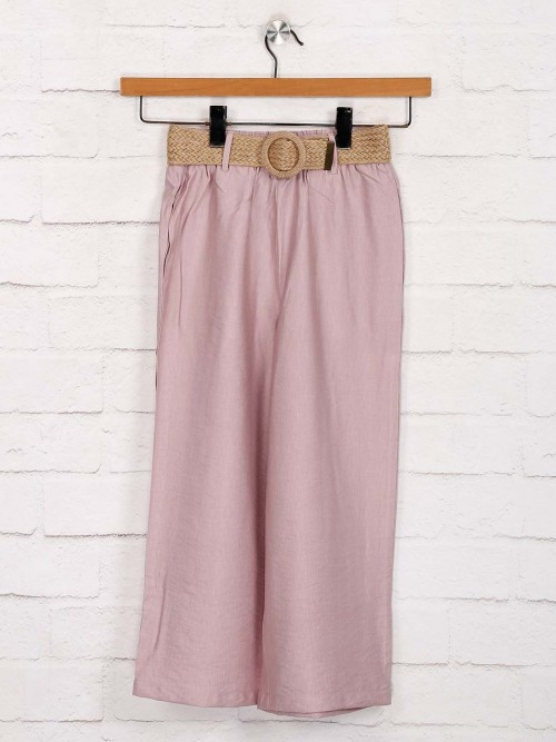 Deal Solid Pink Cotton Palazzo