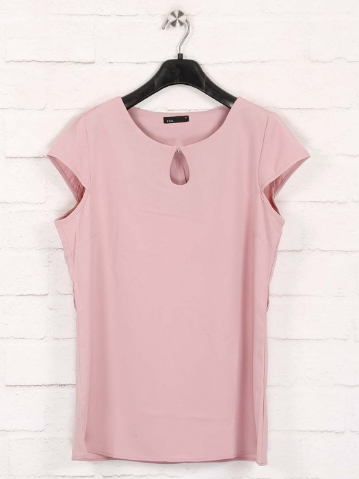 Deal Solid Pink Sleeveless Cotton Top