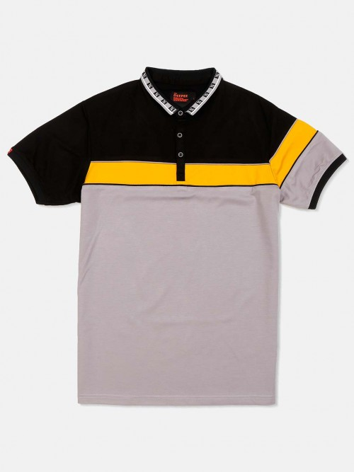 Deepee Grey Slim Fit Solid T-shirt