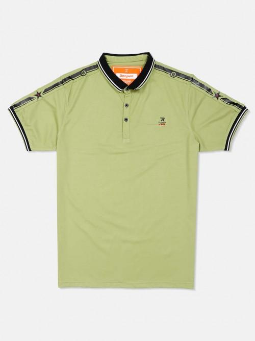 Deepee Light Green Casual Solid T-shirt