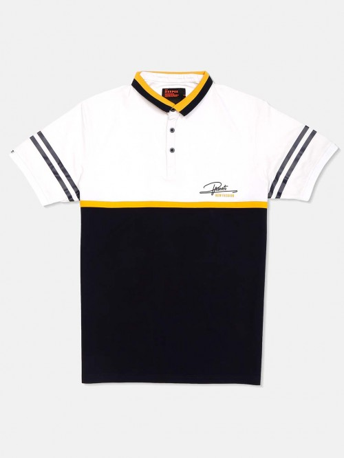 Deepee Navy And White Solid T-shirt