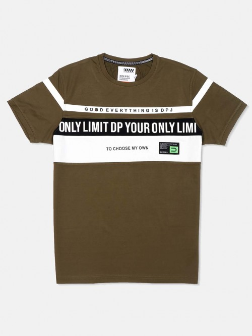 Deepee Olive Printed Cotton T-shirt