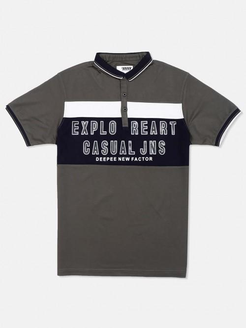 Deepee Printed Dark Grey Cotton T-shirt
