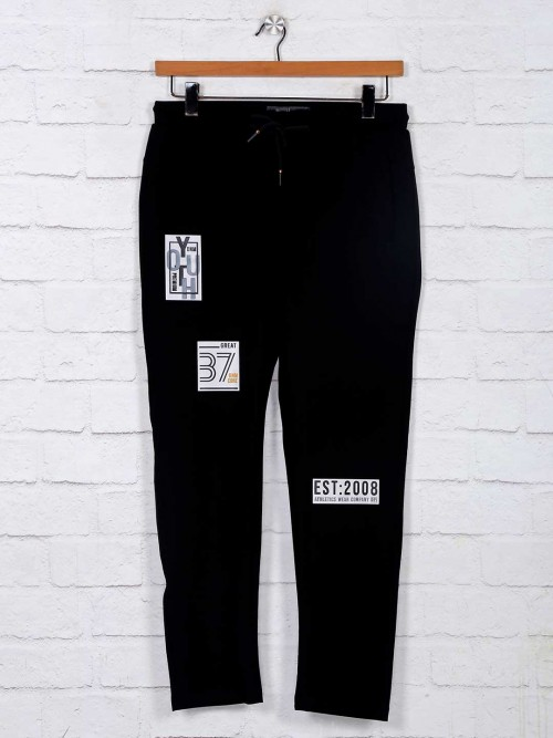 Deepee Solid Cotton Black Track Pant
