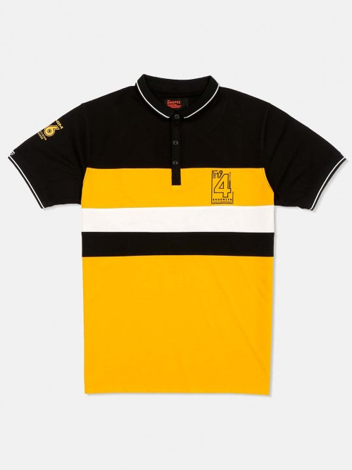 Deepee Solid Yellow Cotton T-shirt