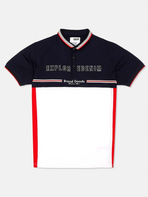 Deepee White And Navy Printed T-shirt