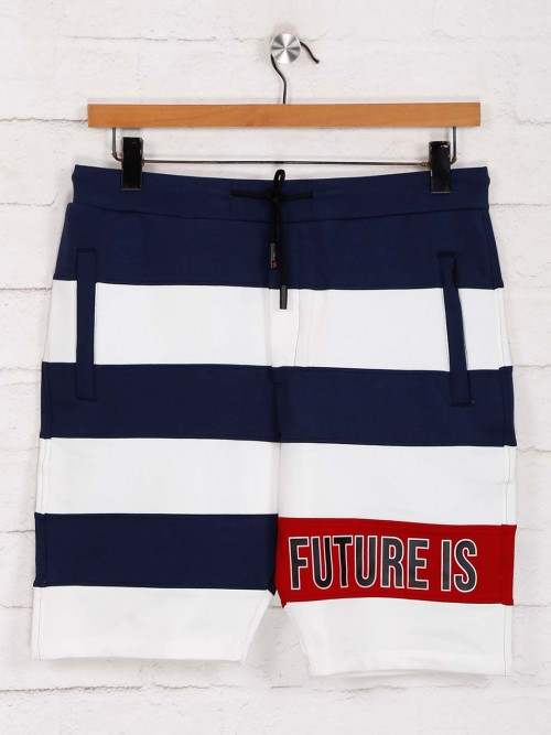Deepee White And Navy Stripe Cotton Shorts