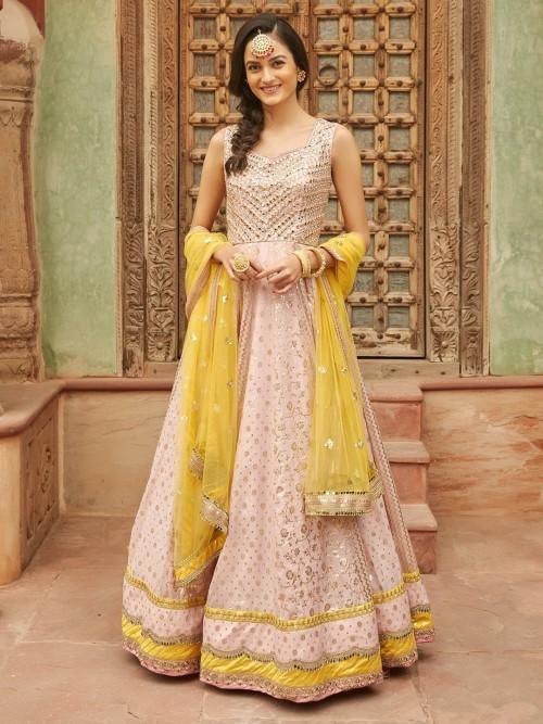 Designer Baby Pink Anarkali Dress For Wedding In Cotton Silk