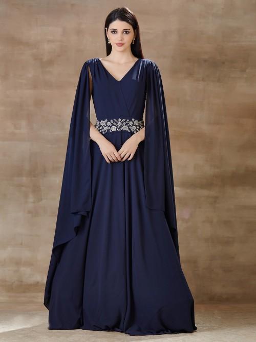 Designer Blue Indo Western For Festive In Georgette