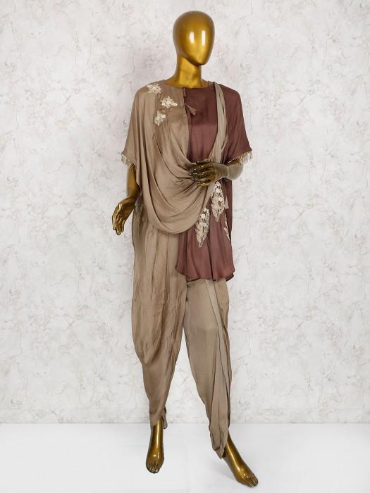 Designer Brown Silk Dhoti Suit