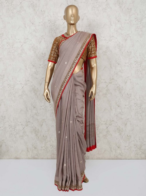 Designer Light Brown Saree For Wedding With Readymade Blouse