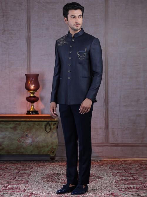Designer Navy Jodhpuri Suit In Silk